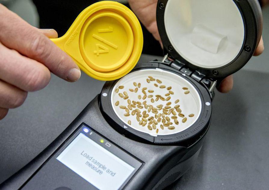 GrainSensen laite mittaa sekunneissa jyvien proteiini- ja öljypitoisuuden, kosteusprosentin sekä hiilihydraatit.