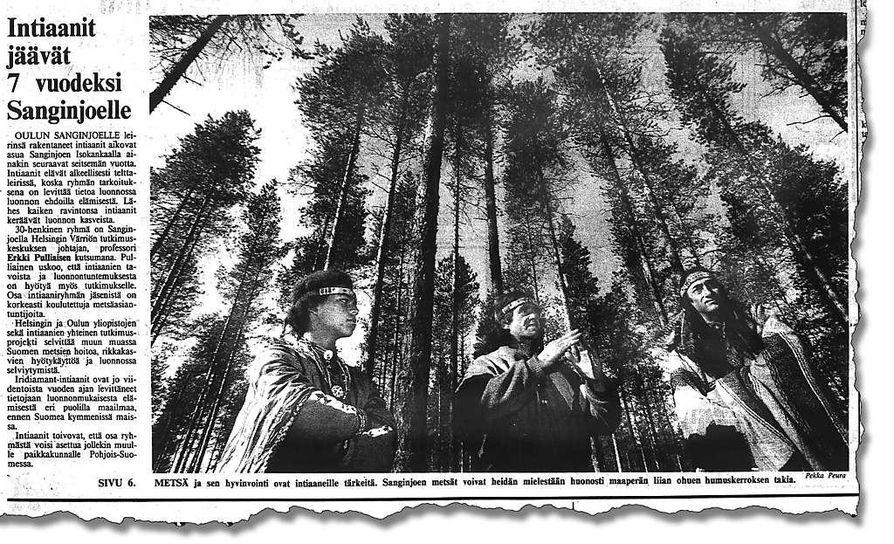 Kaleva uutisoi elämäntapaintiaanien saapumiesta Sanginjoelle lokakuun  3. päivänä 1991.