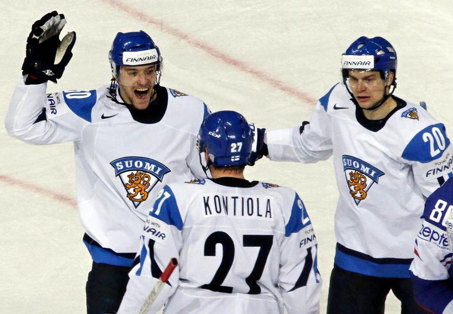 Juhamatti Aaltosen, Petri Kontiolan ja Janne Pesosen ketju oli vuoden 2013 MM-kisoissa tehokkaassa vireessä.