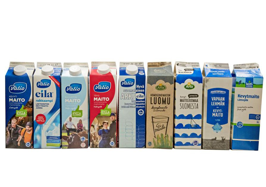 Kahdessa eri vertailussa maisteltiin kaikkiaan yhdeksää erilaista maitoa.