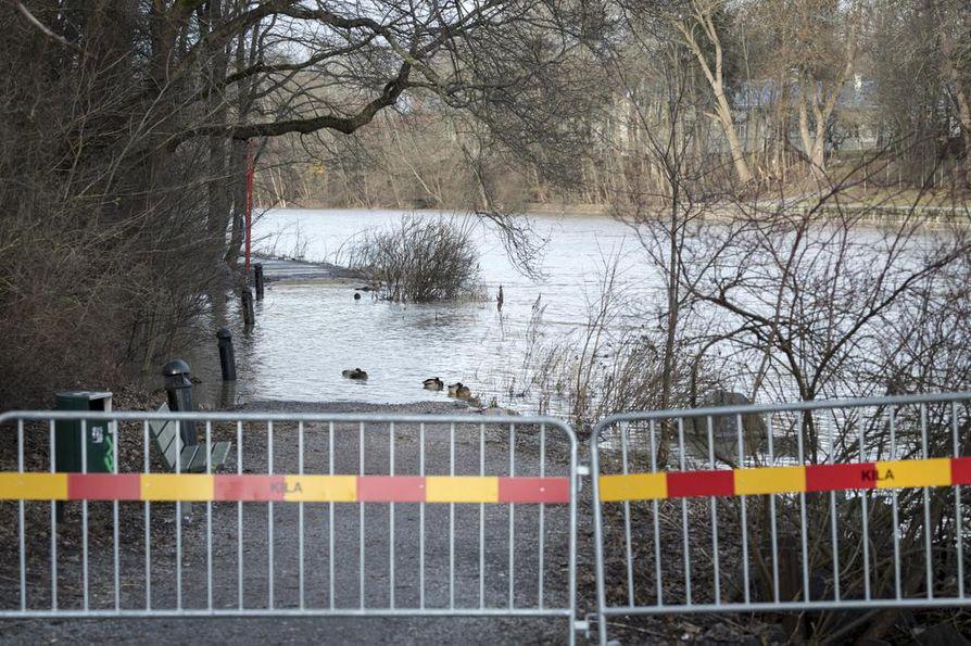 TURKU: Lumen sijaan Varsinais-Suomessa on riittänyt vesisadetta paikoin jopa roimasti keskimääräistä enemmän. Aurajoen varren ulkoilureitti piti alkuviikolla sulkea reitille nousseen jokiveden vuoksi.