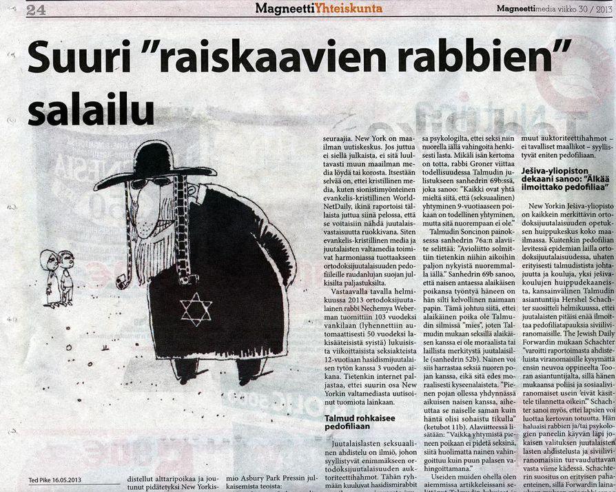 Tuoreimmassa numerossa julkaistun tekstin mukaan juutalaisten kirjoituskokoelma Talmud rohkaisee pedofiliaan.