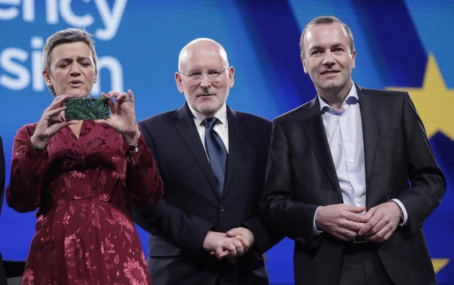Onko joku heistä EU-komission seuraava puheenjohtaja? Margrethe Vestager, Frans Timmermans ja Manfred Weber olivat vaaleissa ryhmiensä kärkiehdokkaita. Ei ole kuitenkaan varmaa, että komission puheenjohtaja valitaan kärkiehdokkaista, sillä kärkiehdokasmenettely on kohdannut jäsenmaissa vastustusta.