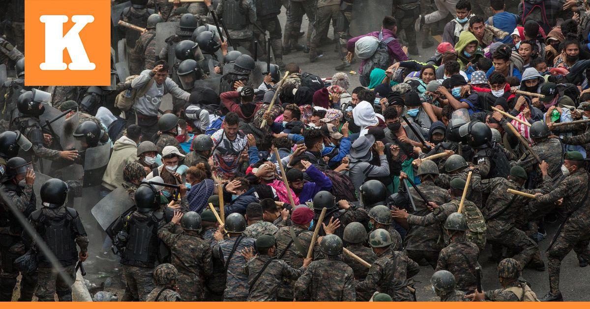 Guatemalan viranomaiset hajottivat siirtolaisten leiriä raja-alueeltaan  vuoden...