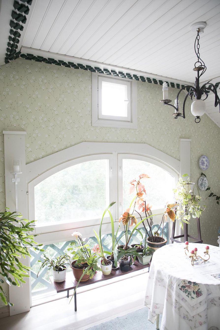 Ikkunoita talossa on 25 kappaletta. Erikoiset ikkunat luovat talon ulkokuoreen huvilamaisuutta ja valaisevat sisätiloja.