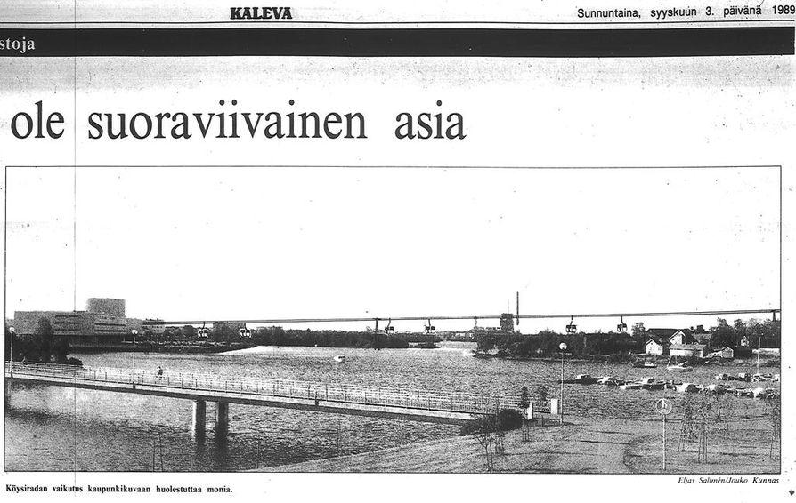 Gondolihissin kaavailtu reitti Pikisaaren ja Hietasaaren yli oli 2,6 kilometriä.