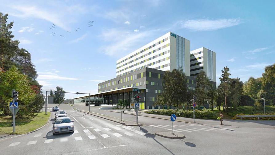 Sairaalaan rakennetaan kaksi vierekkäin olevaa kymmenkerroksista tornia, joista toisen rakentaminen kuuluu sovittuun urakkaan.