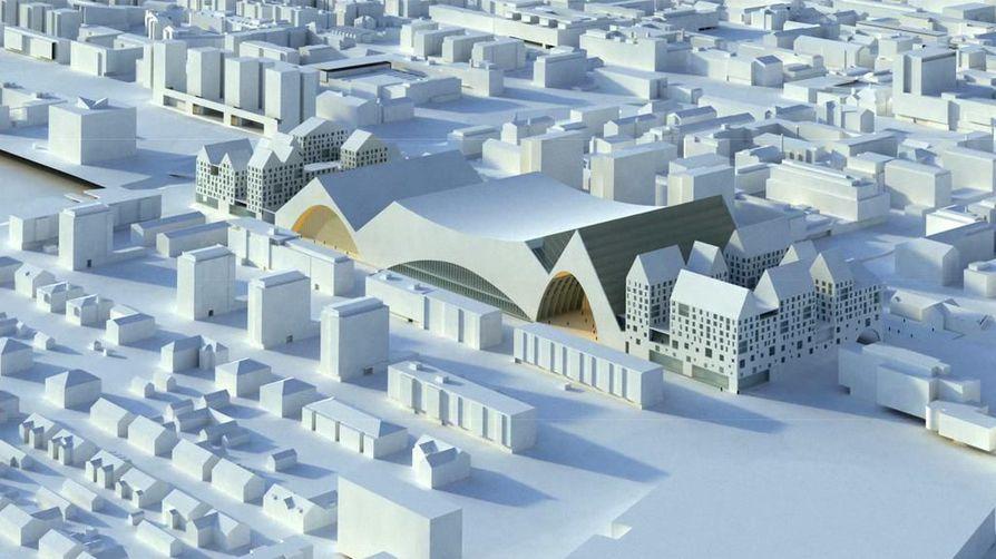 Asemanseutua on pidetty suurena mahdollisuutena lisätä Oulun vetovoimaa. Havainnekuva.