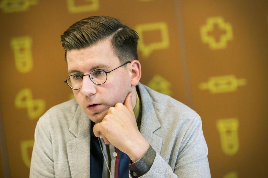 Kansanedustaja Sebastian Tynkkynen (ps.) sai torstaina Oulun käräjäoikeudelta yli 4000 euron sakkotuomion kiihottamisesta kansanryhmää vastaan. Arkistokuva.