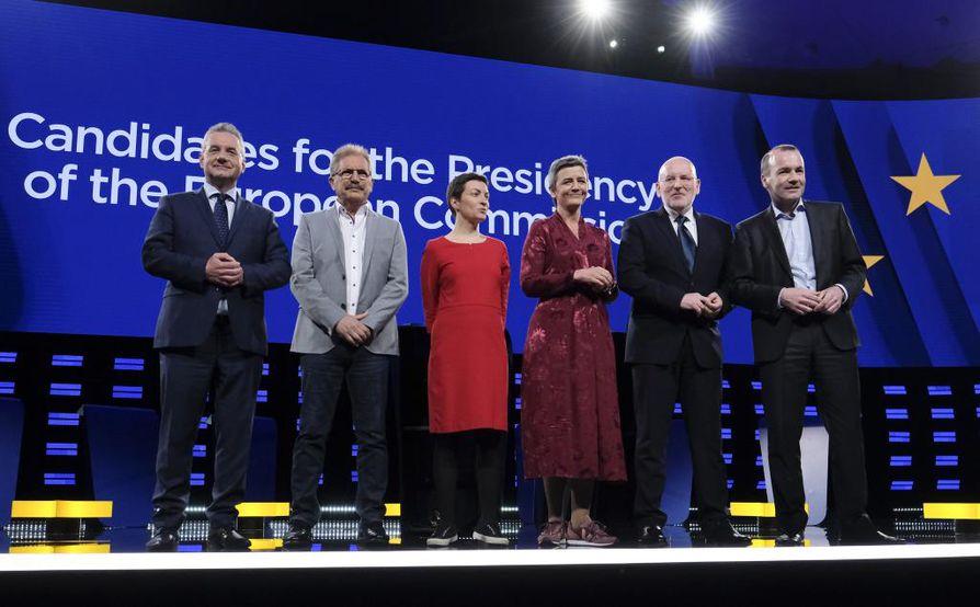 Jan Zahradil (ACRE), Nico Cue (EL), Ska Keller (EGP), Margrethe Vestager (ALDE), Frans Timmermans (PES) ja Manfred Weber (EPP).