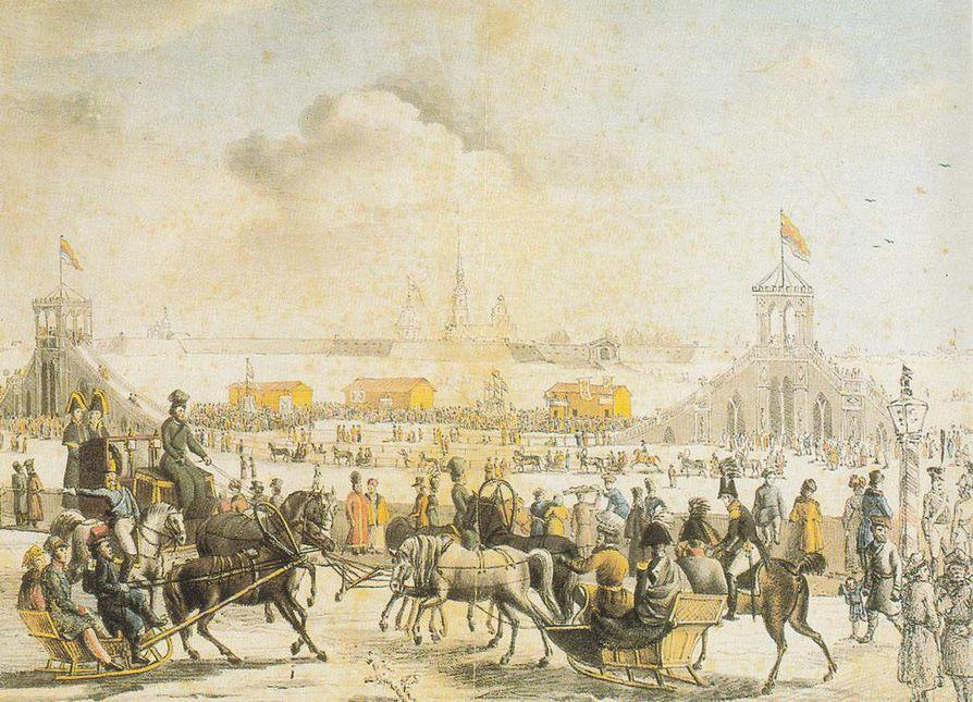 Suomalainen hevoskuski, veikka (etualalla vasemmalla) ajelutti ihmisiä reellään laskiaisviikolla, jolloin suomalaiset talonpojat saivat kyyditysluvan pääkaupunkiin Pietariin. Neva-joen jäälle oli rakennettu kelkkamäki.