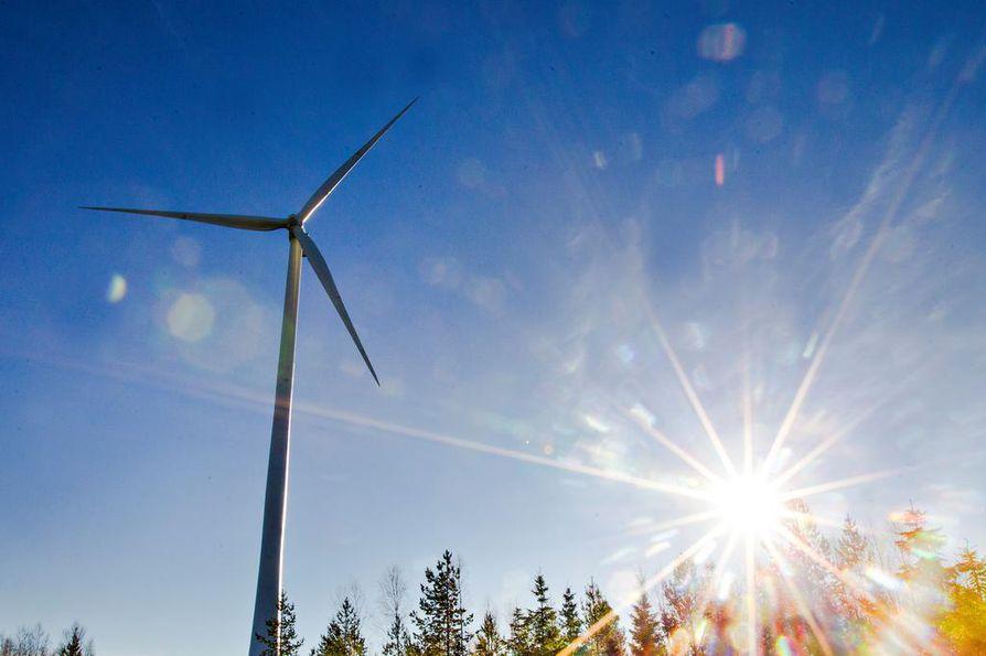 Tuulivoimayhtiö Ilmatar kaavailee Ollinkorven enimmillään 63 tuulivoimalan puistoa. Kuvituskuva.
