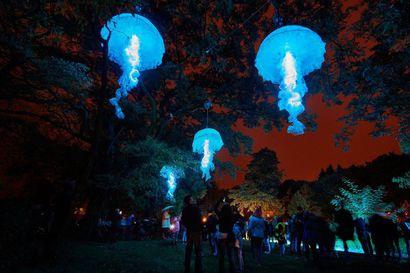 Mystiset meduusat valtaavat Hupisaaret – myös Oulun kaupungintalo on jälleen yksi Lumo-valofestivaalin vetonauloista