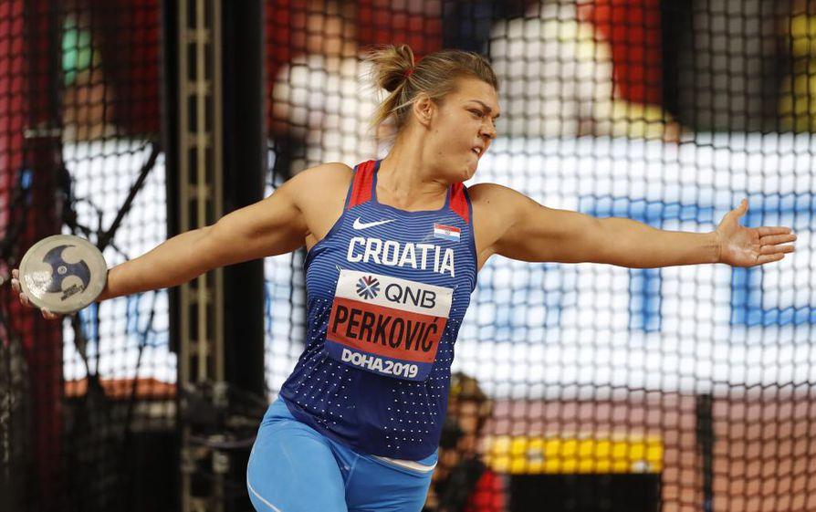 Kroatian Sandra Perković puolustaa maailmanmestaruutta naisten kiekonheitossa.