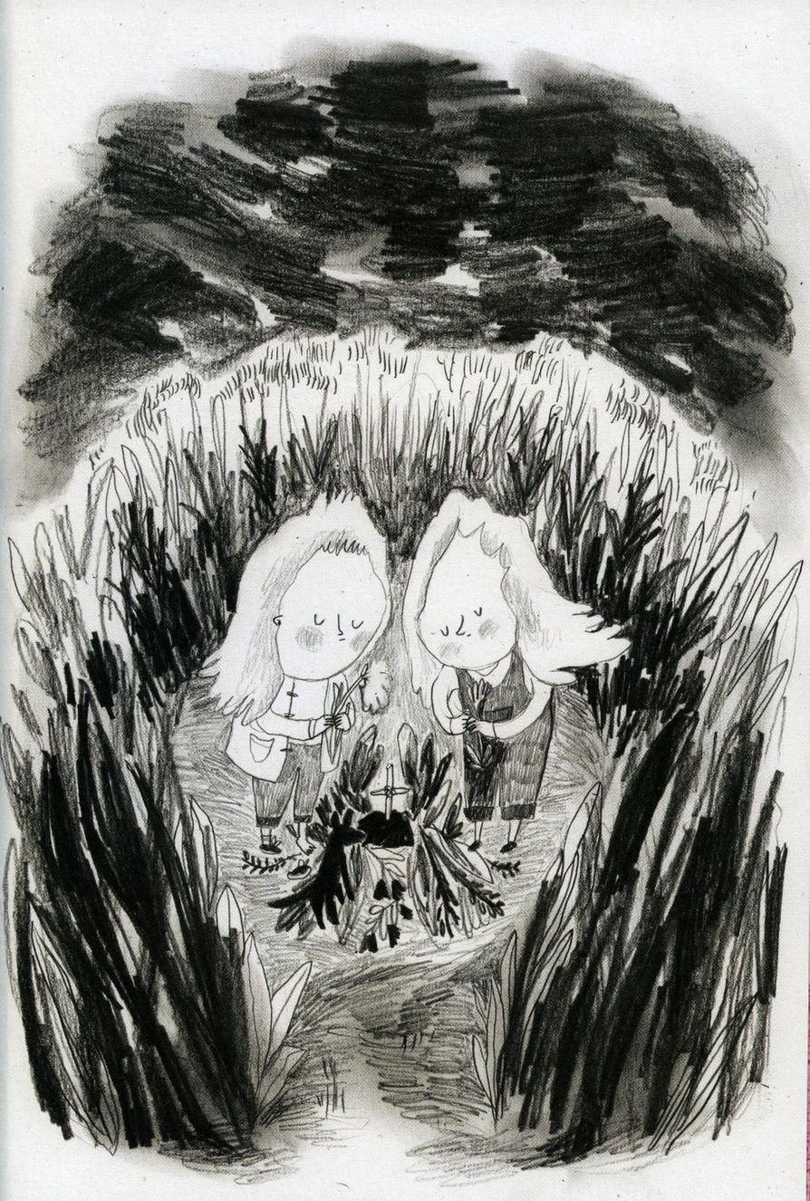 Kuvitusta Juliana Hyrrin Satakieli joka ei laulanut -sarjakuvan novellista Huoranpenikat ja simpukkarasia.