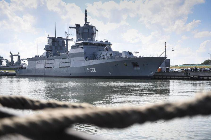 Baden-Württemberg on Saksan laivaston uusin ja luokkansa ensimmäinen alus. Se otettiin käyttöön kesällä 2019. Aluksen epäillään loukanneen Suomen aluevesiä Raahen edustalla. Arkistokuva.