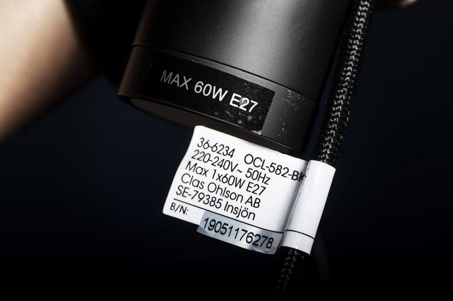 Tarkista ennen lamppuostoksia lamppupidikkeestä sopiva kannan koko, enimmäiswattimäärä ja valaisimen enimmäispaino.