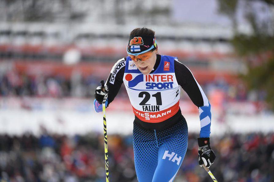Aino-Kaisa Saarinen sijoittui 7. Falunin MM-kisojen päätösmatkalla perinteisen hiihtotavan 30 kilometrin kisassa.