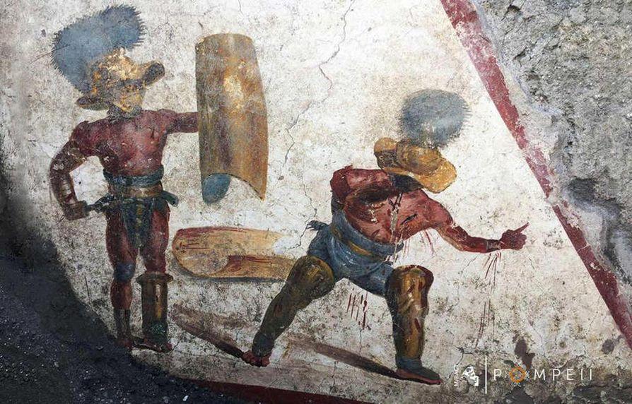 Tuorein Pompejin freskolöytö on vain viikon takaa ja esittää kahta gladiaattoria taistelun tuoksinassa. Kuvan intensiivistä tunnelmaa korostavat sen yhä kirkkaat ja eloisat värit.