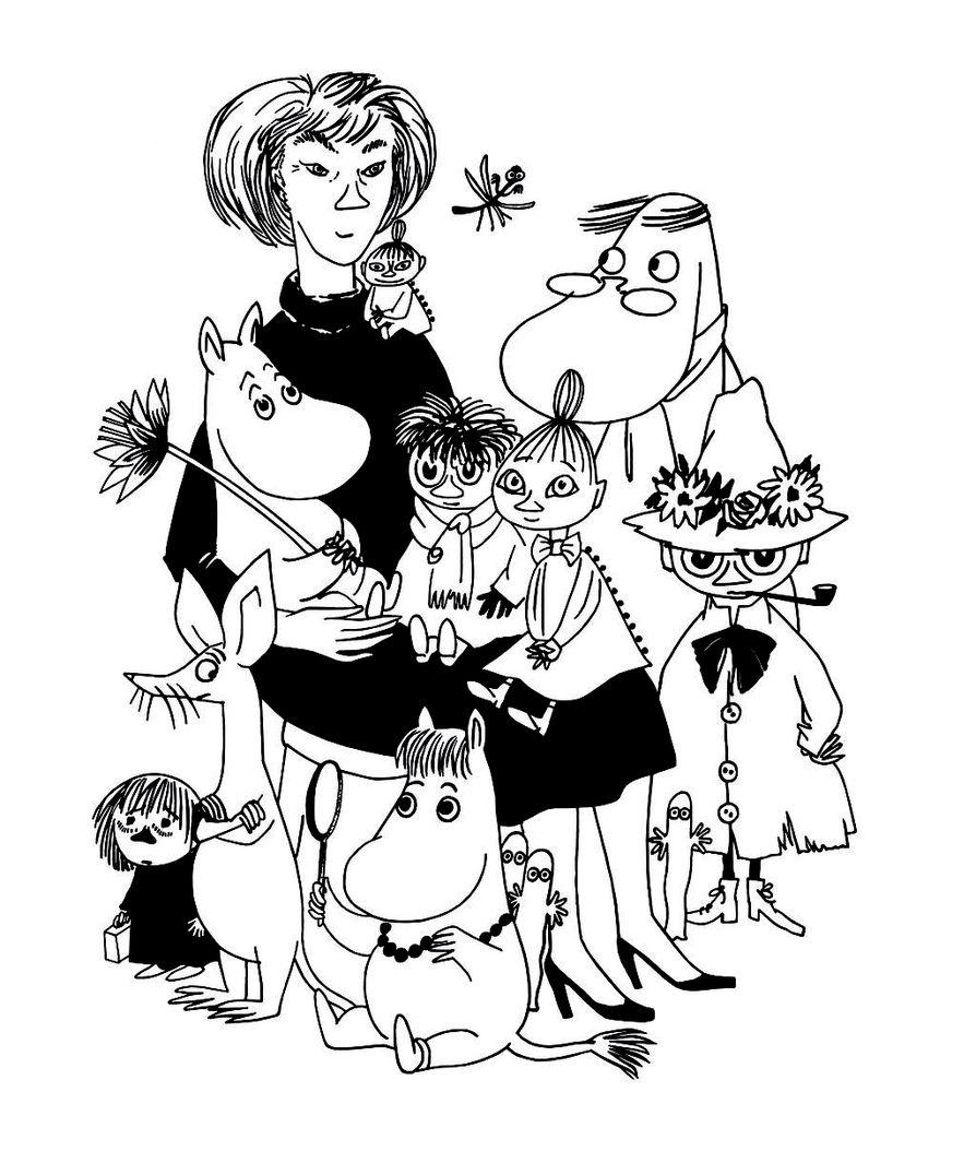Tove Janssonin piirtämä kaverikuva hänestä itsestään muumikirjojen sankarien kanssa.