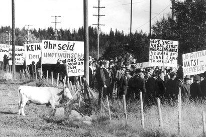 """""""Menkää kotiinne Lapin tuhoojat"""" – Syksyllä 1963 lähes 2500 saksalaista sotavainajaa sai Norvajärveltä viimeisen leposijan mausoleumista, jonka sen rakentajat olisivat purattaneet"""