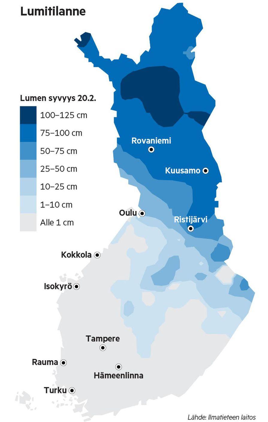 Ilmatieteen laitoksen lumitilannekartta kertoo, että lumipeitteisen alueen raja on poikkeuksellisen jyrkkäpiirteinen. Perämeren pohjukasta Pohjois-Savoon ulottuvan linjan eteläpuolella lunta on korkeintaan senttejä, pohjoisempana jopa pitkälle toista metriä.