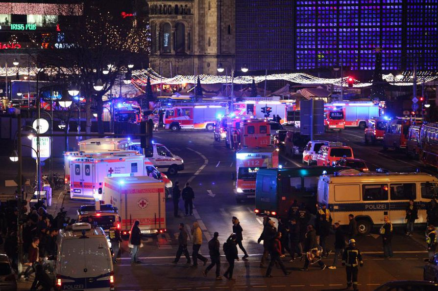 December 19, 2016 - Berlin, Germany - A truck plowed into a Christmas market crowd in Berlin Monday night killing nine and injuring at least 50. The crash occurred in Breitscheidplatz in the western part of central Berlin. Officials are investigating the truck crash as an act of terrorism. (Credit Image: © Omer Messinger via ZUMA Wire)