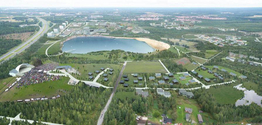 Kempeleeseen Zeniitin uudelle matkailualueelle moottoritien viereen on kalliojärven lisäksi kaavailtu esimerkiksi tapahtuma-aluetta esiintymislavoineen, hotelleja ja erilaisia liikuntakohteita. Havainnekuva.