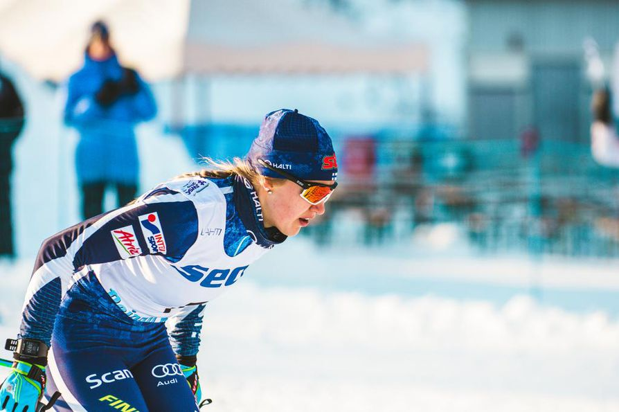 Anita Korva oli mukana sprintin karsinnoissa Seefeldin MM-kisoissa. Arkistokuva nuorten MM-kisoista 2019.
