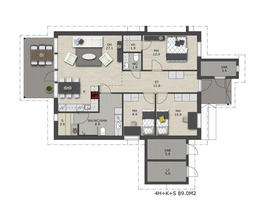 Kylpyhuoneen, saunan ja kodinhoitohuoneen yhdistävän monitoimitilan väljyys mahdollistaa tehokkaan kodinhoitokeskuksen kokoamisen.