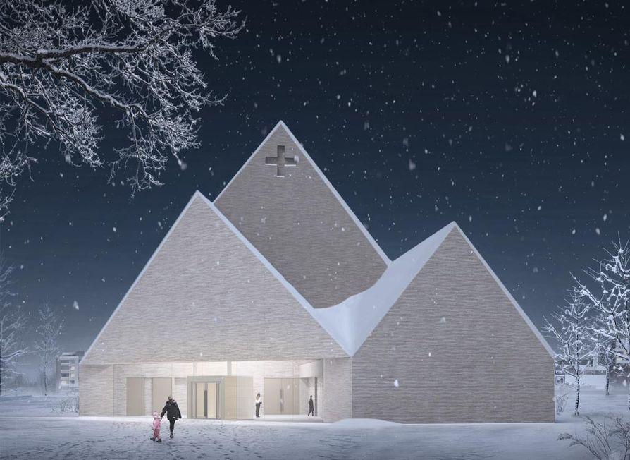 Rakennussuunnitelman mukaan kirkon korkeus on 25 metriä ja sisäkorkeus 23 metriä.
