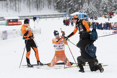 Ristomatti Hakola ja Anne Kyllönen Vuokatin Suomen cupin hahmot