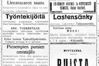 Vanha Kaleva: Oulun lääni saa uudenaikaisen valtion sahalaitoksen, nyt puuta viedään huomattavia määriä sahaamattomana Ruotsiin