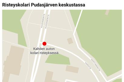 Kaksi henkilöautoa törmäsi risteyksessä Pudasjärven keskustassa