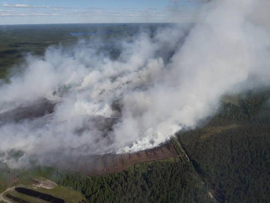 Kanta-Hämeen pelastuslaitos julkaisi sosiaalisessa mediassa kuvan turvesuon palosta.