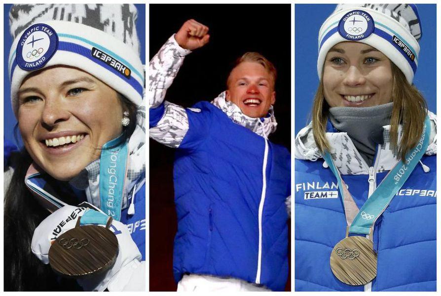 Krista Pärmäkoski, Iivo Niskanen ja Enni Rukajärvi toivat olympialaisten henkilökohtaiset mitalit.