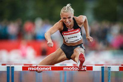 Annimari Korte puski vastatuuleen 12,80 - korkeushyppääjä Ella Junnila vertyi Lahdessa SE-yrityksiin