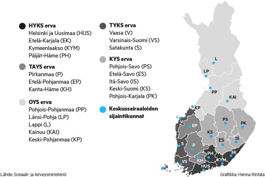 Sairaanhoitopiirit noudattavat lähes täysin maakuntajakoa. Poikkeuksena ovat Länsi-Pohja, joka kuuluu Lapin maakuntaan ja Itä-Savo, joka kuuluu Etelä-Savon maakuntaan.