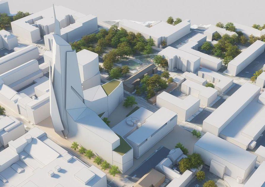 Havainnekuva Saaristonkadun varteen suunnitellusta uudesta hotelli- ja toimistorakennuksesta.