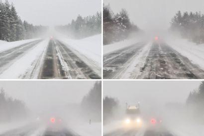 Lumipöllyn takana piilee vaara – Näin hyvin ohittava auto ja puutavararekka piiloutuvat lumipöllyyn