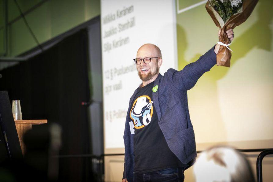 Veli Liikanen valittiin vihreiden puoluesihteeriksi Porin puoluekokouksessa viime kesäkuussa.