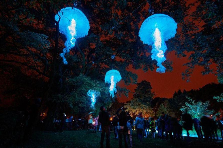 Puolalaisen taiteilijan Magdalena Radziszewskan suuret, liikkuvat meduusat luovat puiden latvoihin mielikuvan syvästä valtamerestä.