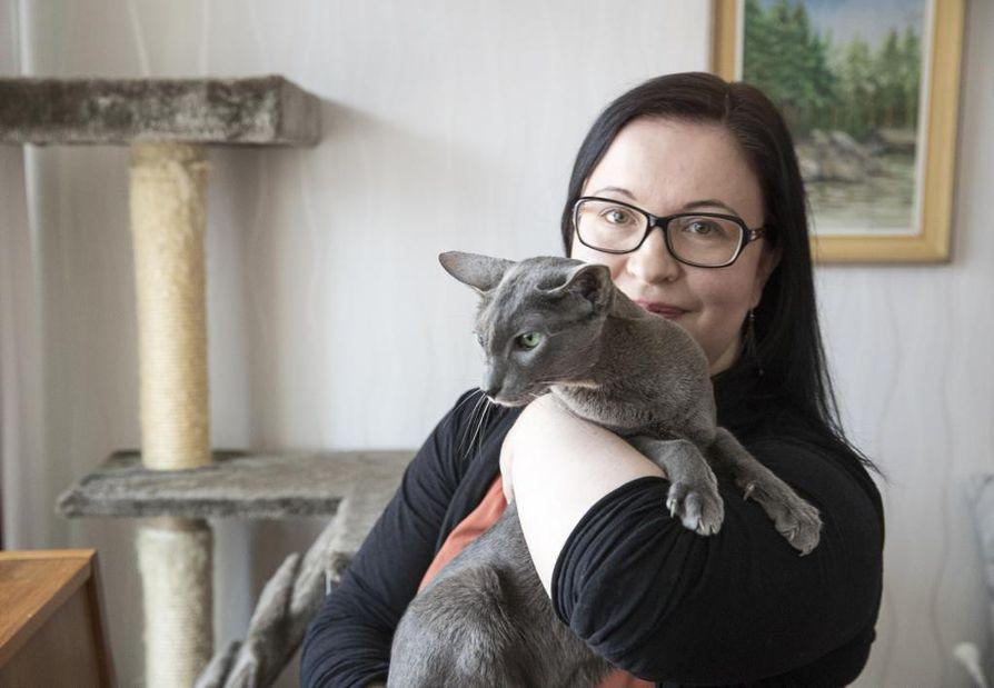 Annina Laitila sanoo siedättyneensä kissoille. Hänellä on sylissään itämainen lyhytkarvakissa Milli, joka muutti hänen luokseen kolme kuukautta sitten.