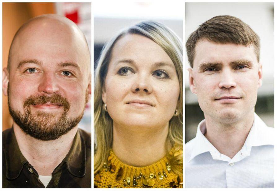 Mikko Kärnä, Katri Kulmuni ja Heikki Autto nähdään eduskunnassa ensi vaalikaudella.