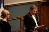 Puhemies Maria Lohela ja presidentti  Sauli Niinistö eduskunnan virkaanastujaistilaisuudessa. Sekä puhemies että presidentti pitivät puheet eduskunnalle.