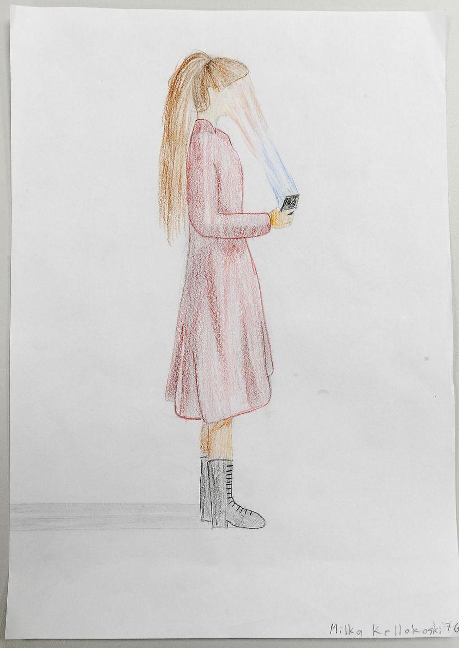 Seitsemäsluokkalaisen Milka Kellokosken piirustus palkittiin unelmien päivä -kilpailussa.