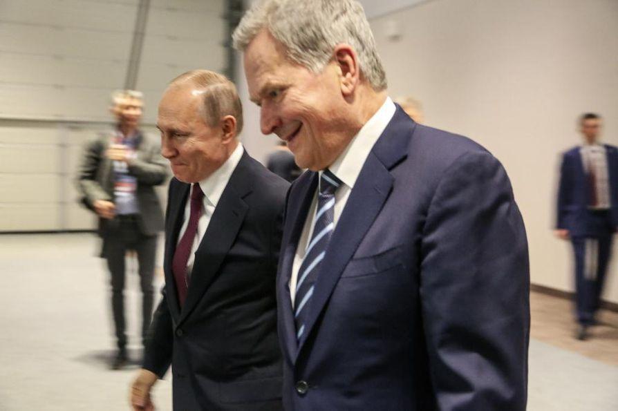 Presidentit Vladimir Putin ja Sauli Niinistö. Arkistokuva.