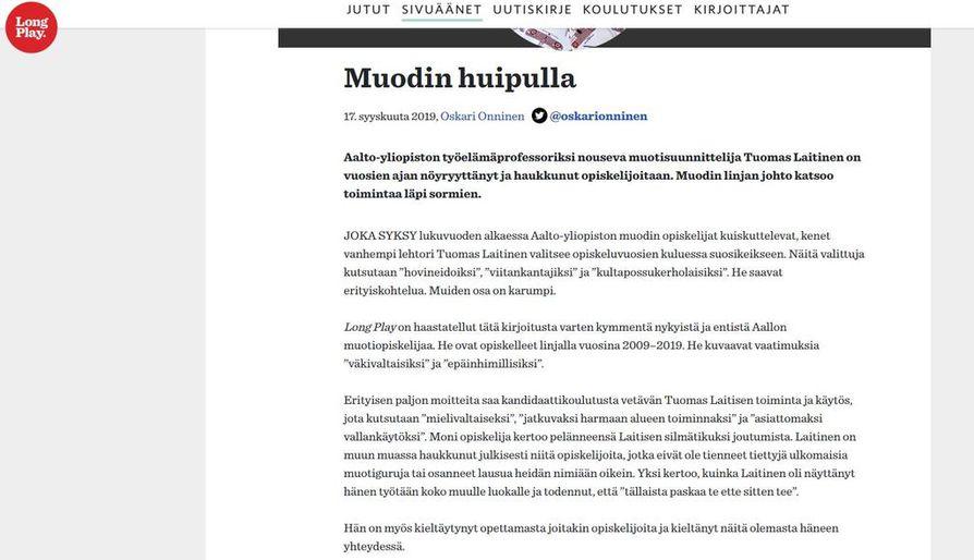 Long Play julkaisi viime tiistaina jutun Aalto-yliopiston muodin koulutusohjelman vetäjän, vanhemman lehtorin Tuomas Laitisen toiminnasta. Kuvakaappaus Long Playn sivustolta.