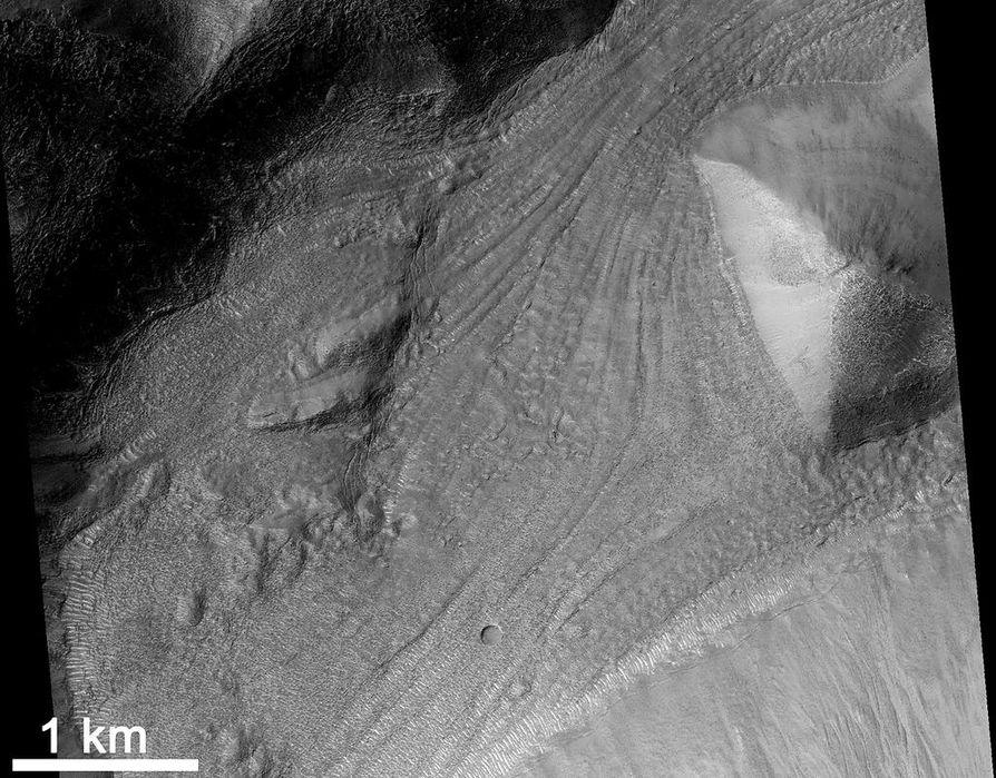 Mars Reconnaissance Orbiter -luotaimen HiRISE-kameran ottama kuva Niger Vallis -kanjonin pohjalta. Kuvassa näkyy, miten pohja on peittynyt virtamaisella jääpitoisella aineksella.