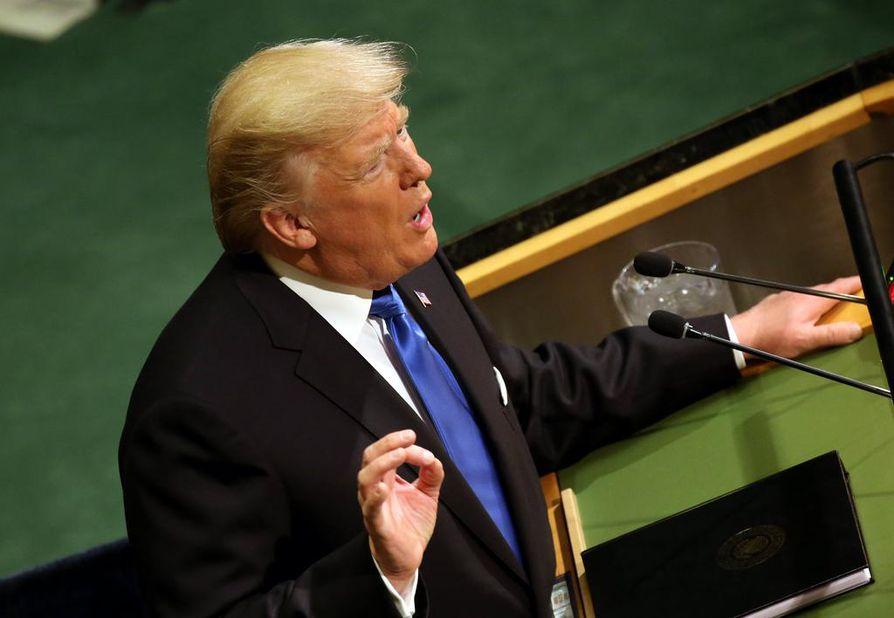Donald Trump puhui YK:n yleiskokouksessa tiistaina.